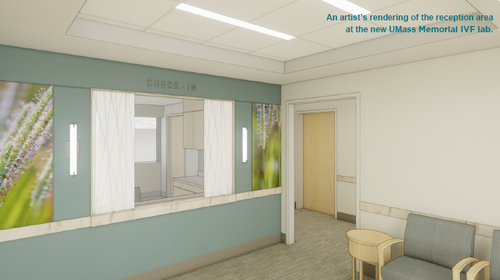 rendering of IVF lab reception area