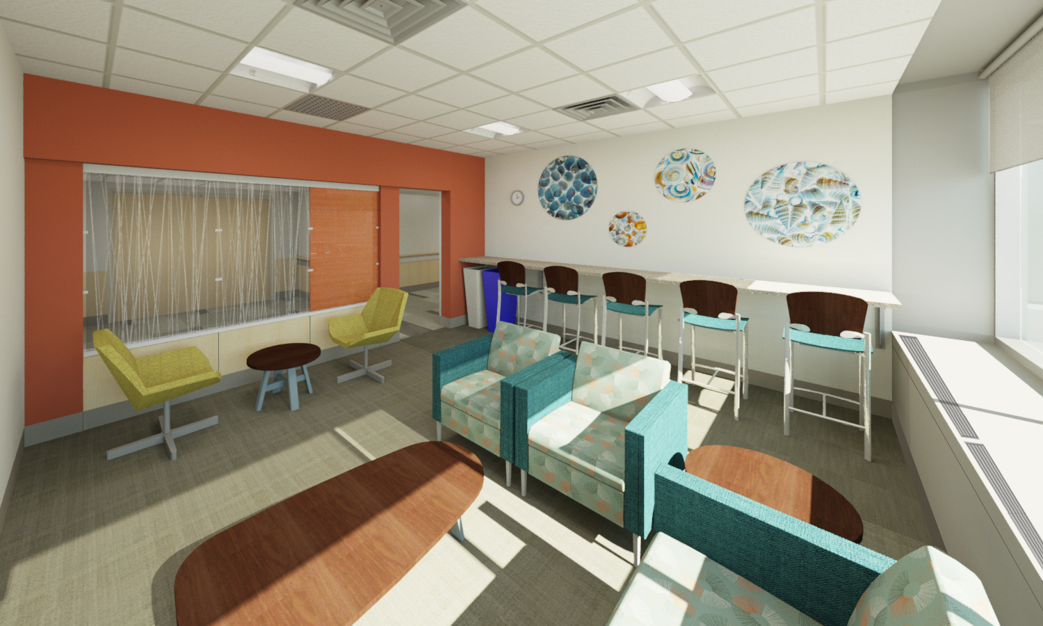 Rendering of new inpatient waiting room at UMass Memorial Medical Center, University Campus