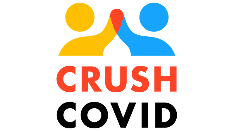 The Crush COVID logo is shown of two figures high-fiving.